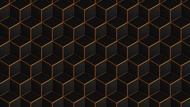 Cubos isométricos negros con patrón dorado sin costuras
