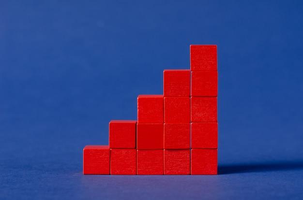 Cubos de madera de color rojo ensamblados en un gráfico de columna creciente sobre backgrond azul oscuro