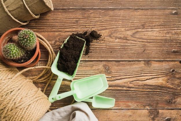 Cuchara plástica con suelo; planta de cactus; carrete de cuerda y macetas de turba en mesa de madera