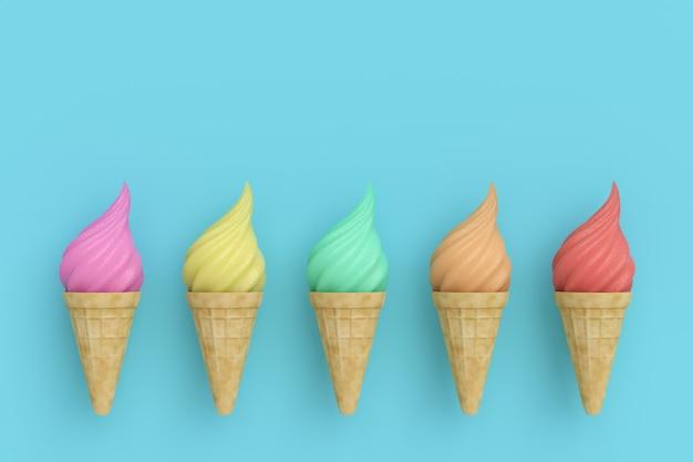 Cucurucho de helado. 3 d ilustración. render 3d