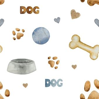 Cuenco de perro, patrón de hueso y bola