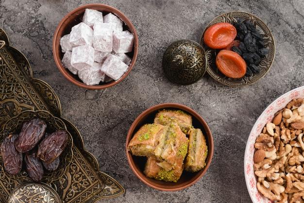 Cuenco de tierra de lukum; baklava; fechas; frutos secos y frutos secos sobre hormigón gris.