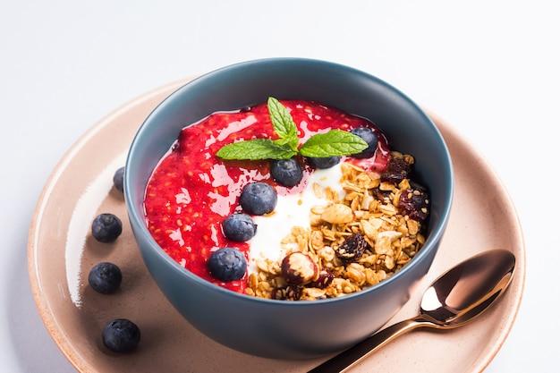 Cuenco de yogur con frambuesas y granola.