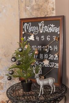 Cuenta regresiva para el calendario de adviento de navidad. diseño de interiores