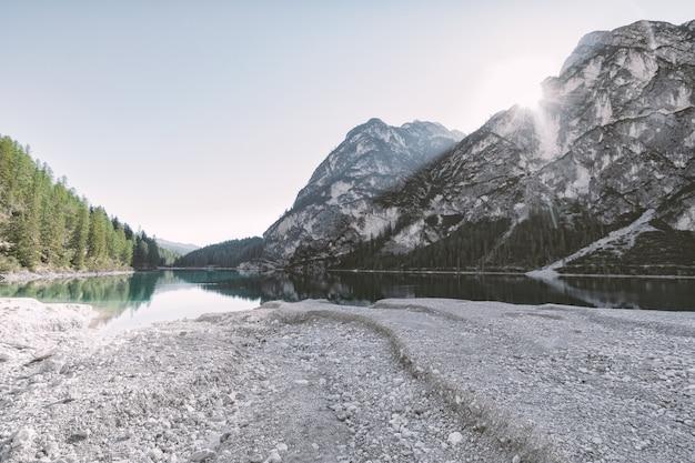 Cuerpo de agua entre árboles y montaña