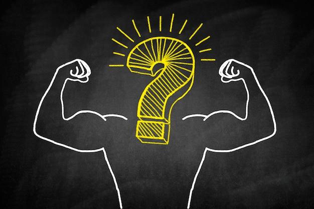 Cuerpo musculoso con una interrogación