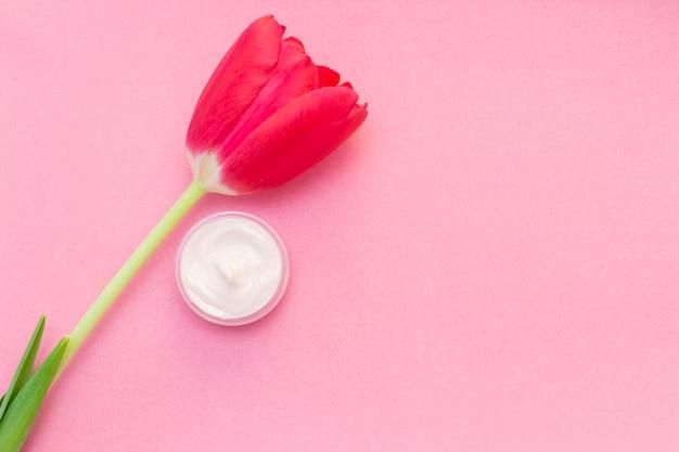 Cuidado de la piel de primavera. tulipán y tarro de crema en una pared rosa