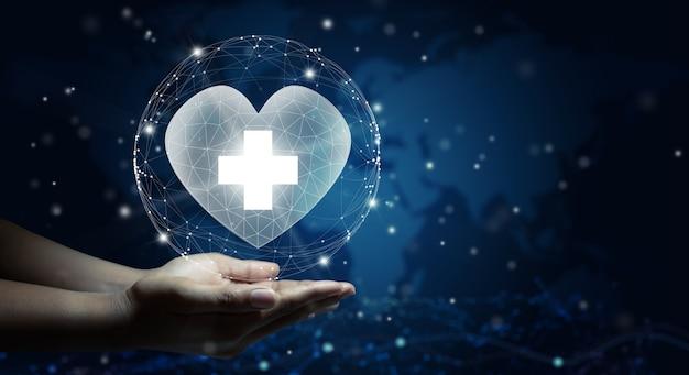 Cuidado de la salud seguro de salud concepto de caridad y medicina espacio de copia