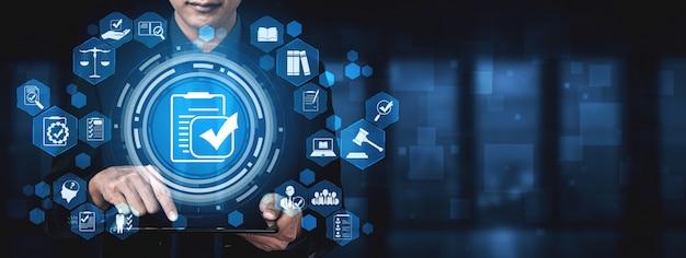Cumplimiento norma ley y regulación interfaz gráfica para política de calidad empresarial