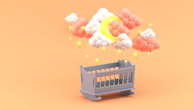 Cuna azul bebé bajo las nubes, luna y estrellas en naranja. render 3d