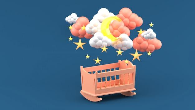 Cuna rosada debajo de las nubes, luna y estrellas en azul. render 3d