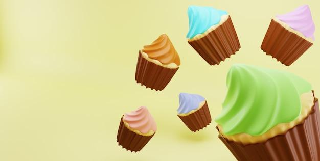 Cupcakes de color al azar crema de glaseado caer en fondo amarillo superficie