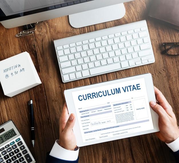 Curriculum vitae reanudar el concepto de solicitud de empleo