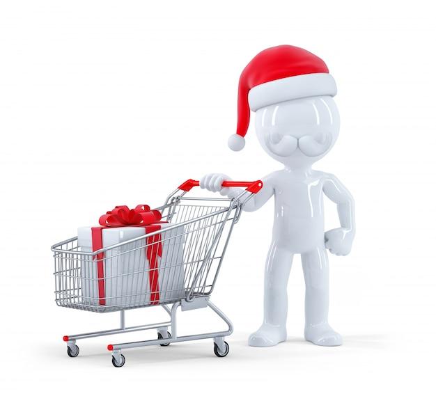 Cute 3d santa con carrito de la compra y regalo de navidad