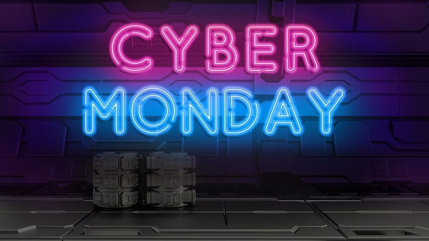 Cyber monday luz de neón 3d render.