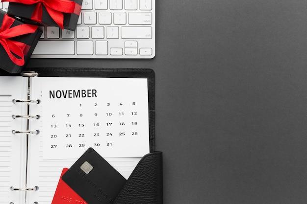 Cyber monday sale noviembre calendario espacio de copia