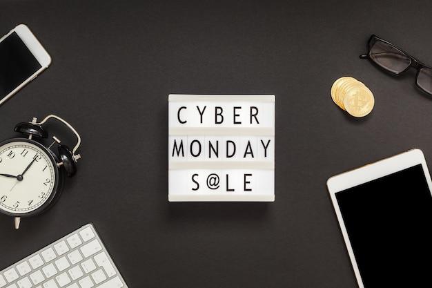 Cyber monday texto de venta en lightbox blanco