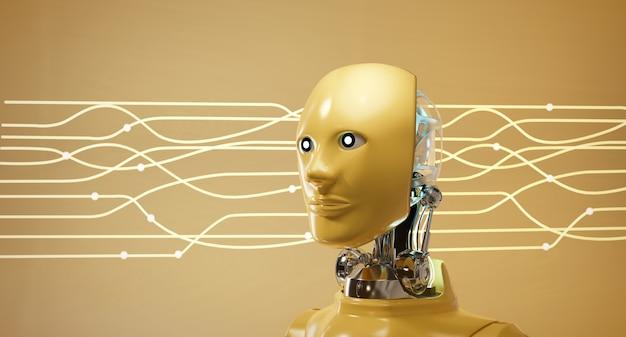 Cyber robot ai head set con fondo de corriente de luz eléctrica