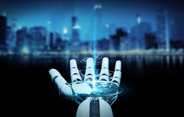 Cyborg blanco abriendo su mano renderizado 3d