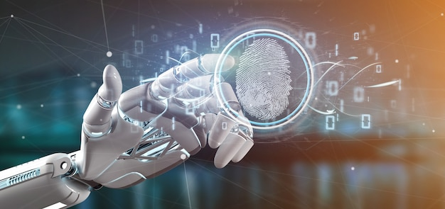 Cyborg con identificación digital de huellas dactilares y código binario.
