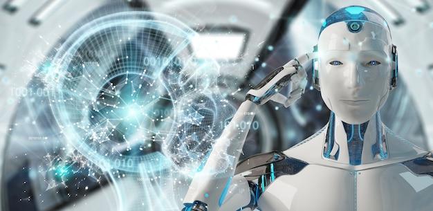 Cyborg macho blanco creando renderizado 3d de inteligencia artificial