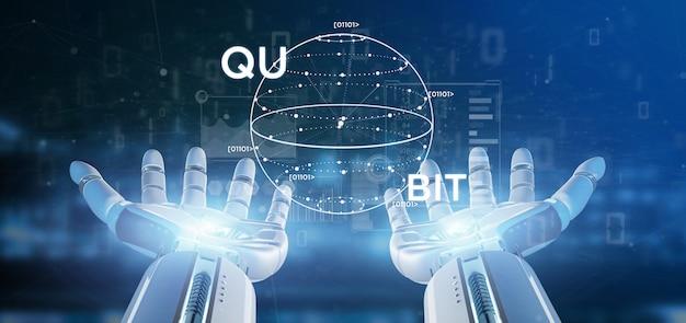 Cyborg mano que sostiene el concepto de la computación cuántica con la representación 3d del icono qubit