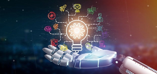 Cyborg mano sosteniendo un concepto de idea de lámpara de bombilla con icono de inicio conectado renderizado 3d