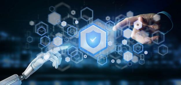 Cyborg mano sosteniendo un escudo de seguridad web