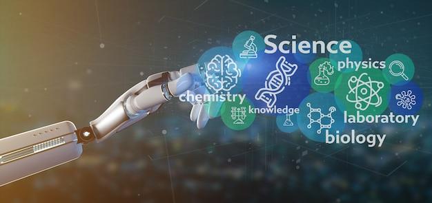 Cyborg mano sosteniendo los iconos de la ciencia y el título