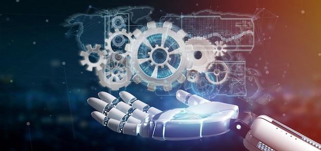 Cyborg mano sosteniendo una interfaz de rueda de engranaje