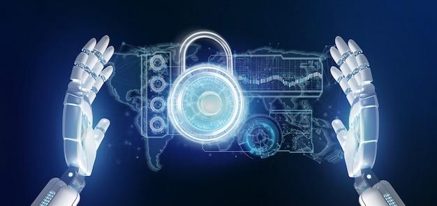 Cyborg mano sosteniendo una interfaz de tecnología de seguridad padlock