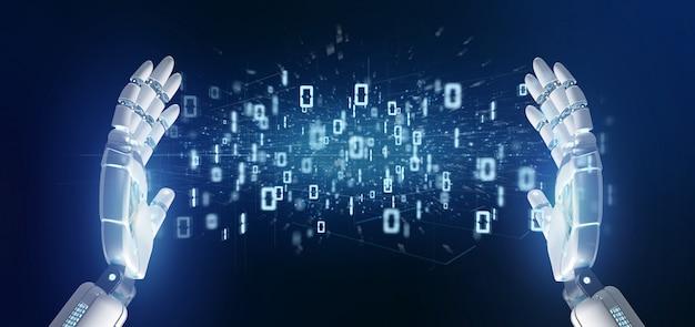 Cyborg mano sosteniendo una nube binaria de datos 3d rendering