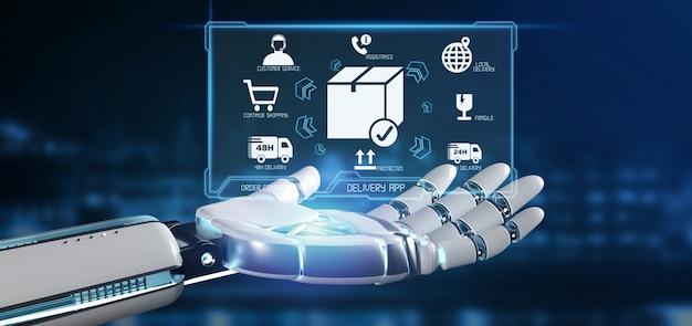 Cyborg mano sosteniendo una pantalla de aplicación de entrega logística renderizado 3d