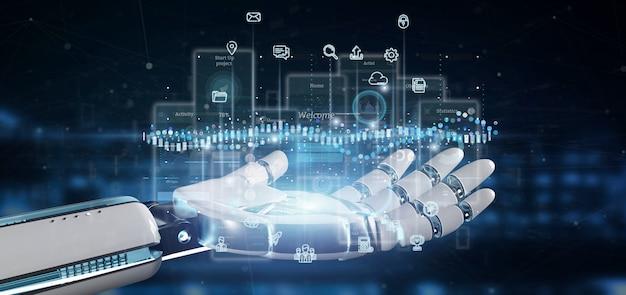 Cyborg mano sosteniendo pantallas de interfaz de usuario con iconos, estadísticas y renderizado 3d de datos