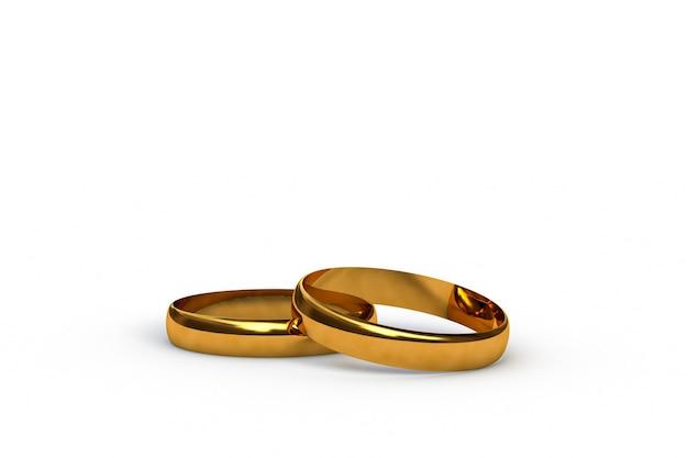 D render de algunos anillos de boda de oro aislado sobre fondo blanco.