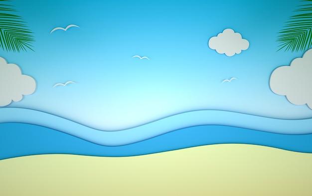 D representación del fondo abstracto de la playa en verano
