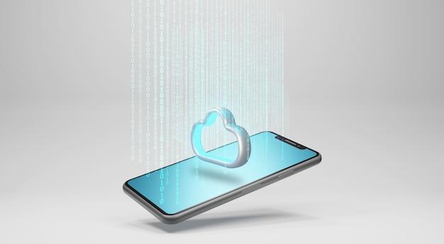 Datos al almacenamiento en la nube. concepto de tecnología de computación en la nube, renderizado 3d