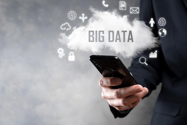 Datos grandes candado, cerebro, hombre, planeta, gráfico, lupa, engranajes, nube, cuadrícula, documento, letra, icono de teléfono.
