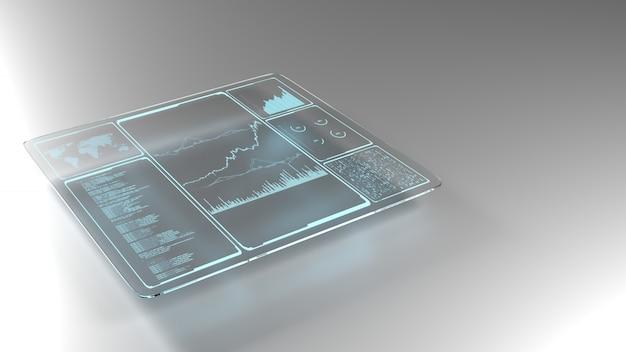 Datos de información empresarial en un panel de vidrio de alta tecnología.