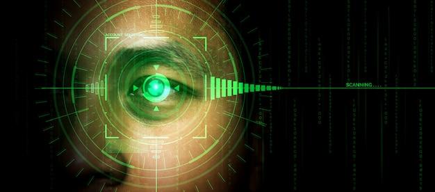Datos de seguridad futuros mediante escaneo ocular biométrico.