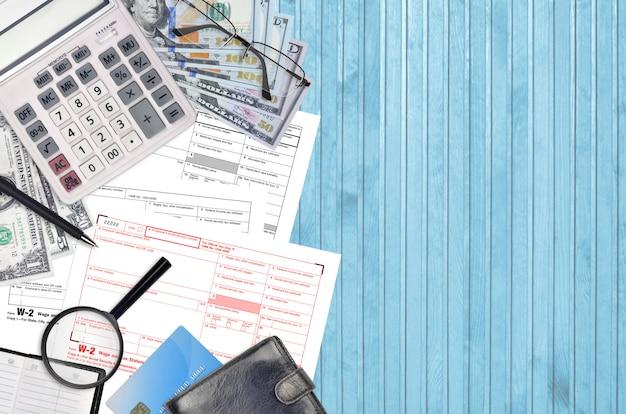 Declaración de salarios e impuestos del formulario w-2 del irs
