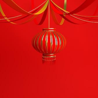 Decoración de año nuevo chino con linterna.