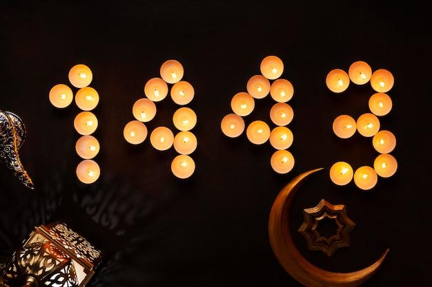Decoración de año nuevo islámico con símbolo de la luna