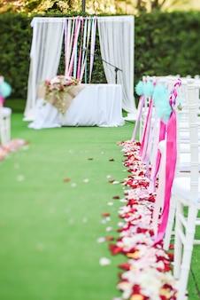 Decoración de ceremonia al aire libre de boda