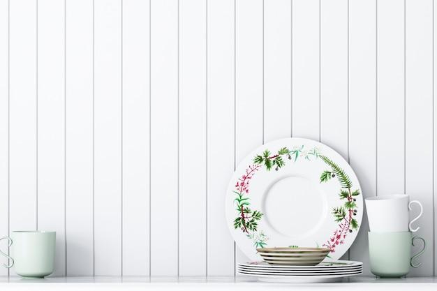 Decoración de cocina sobre fondo de pared blanca decoración verde de estilo vintage