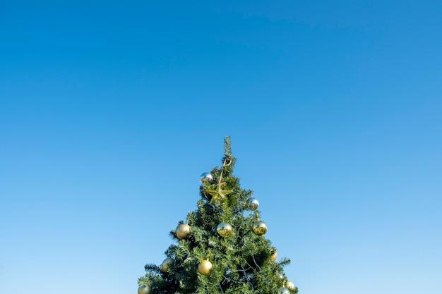Decoración dorada en árbol de navidad y cielo azul.