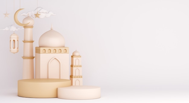 Decoración de exhibición de podio islámico con mezquita y linterna árabe