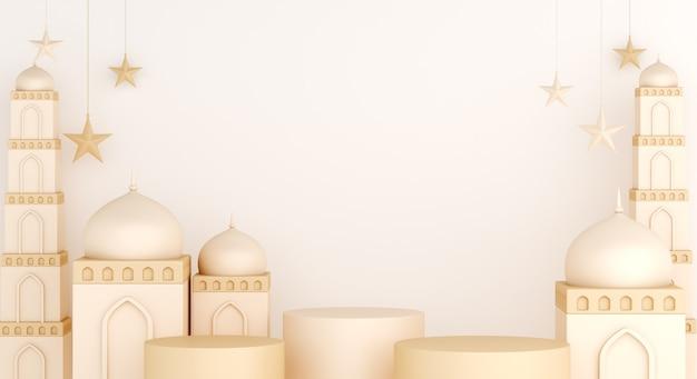 Decoración de exhibición de podio islámico con mezquita