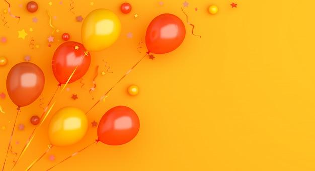 Decoración de fondo de otoño o halloween con globo naranja, espacio de copia