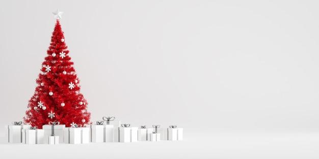 Decoración de invierno árbol de navidad con cajas de regalo en fondo blanco